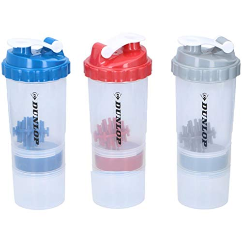 PACK OF 3 PROTEIN SHAKER WITH POWDER STORAGE COMPARTMENT 350ML SPORTS GYM BOTTLE