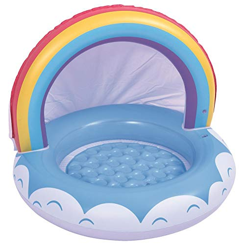 Terzsl Flotador de piscina inflable para bebés con toldo de protección solar arcoíris para 6 – 36 meses