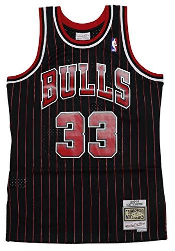 Mitchell & Ness Scottie Pippen 33 Replica Swingman NBA Jersey Chicago Bulls Black Pinstripe Red HWC Basketball Trikot