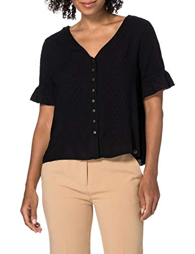 Superdry SS Lace Top Camisa, Negro, M para Mujer