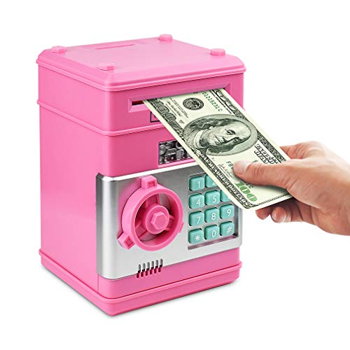 Setibre Piggy Bank, Electronic ATM Password Cash Coin Can Auto Scroll Paper Money Saving Box Toy Gift for Kids (Pink)