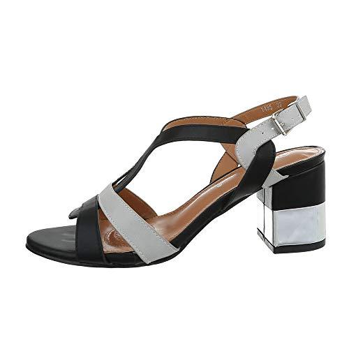 Ital Design Damenschuhe Sandalen & Sandaletten High Heel Sandaletten Synthetik Schwarz Grau Gr. 37