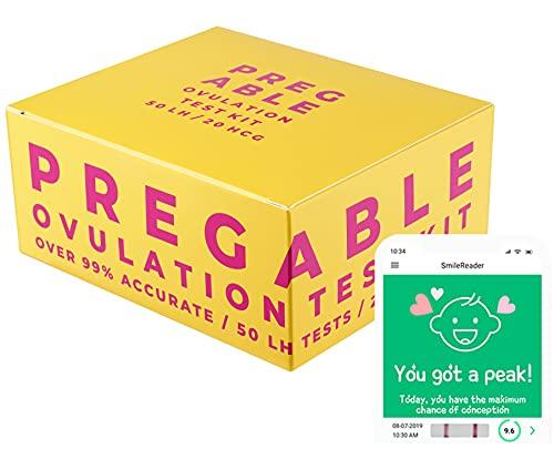 Pregable Combo Kit of 50 Ovulation Tests and 20 Pregnancy Tests, Free Tracker app, SmileReader app, OPKs, HPTs (50LH + 20HCG)
