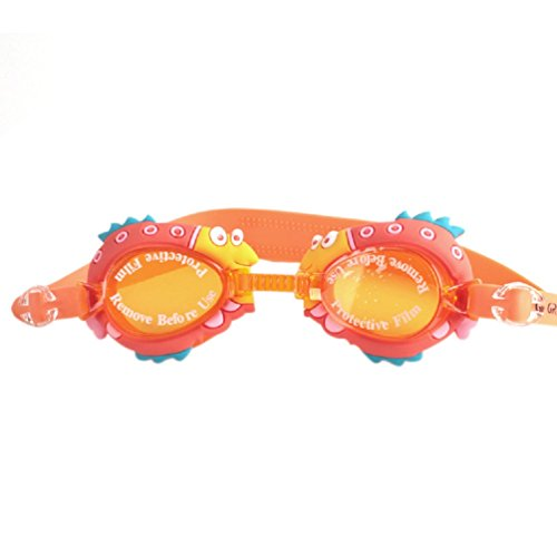 Goodkids Boy Girls' Cartoon Dinosaur Swimming Goggles Waterproof UV Protection Soft Anti Fog for Young Swimmers (Orange, OneSize)