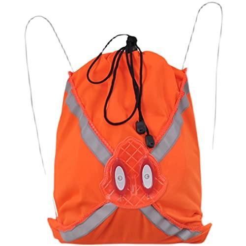 Mochila reflectante de alta visibilidad, ajustable para correr, motociclismo, ciclismo, ciclismo, mochila con cordón, seguridad reflectante para bicicleta, para niños y adultos NARANJA L