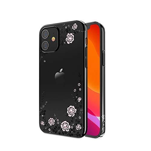 XIWAN Floral Compatible con Apple iPhone 12, iPhone 12 Pro (2020) 6.1'con Cristal Brillante de Swarovski Funda Protectora a Prueba de Golpes a Prueba de Golpes