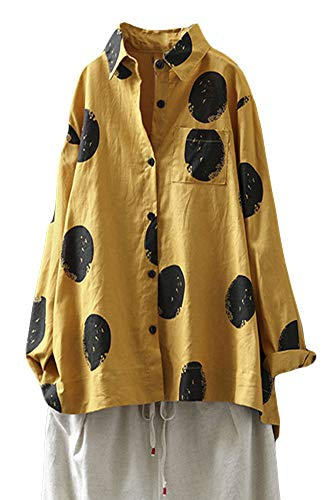 Minibee Women's Button Down Tunic Tops Polka Blouse Cotton Shirts Yellow L