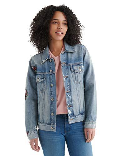 Lucky Brand Damen Denim Embroidered Weekend Trucker Jacket Jeansjacke, Mariposa, Small