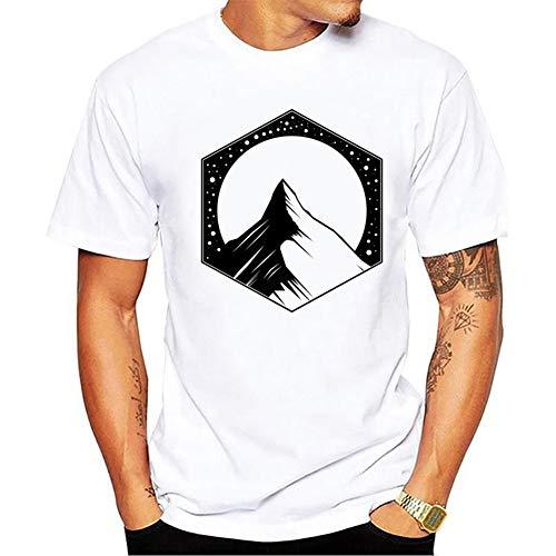 YAMAO Camisetas Cuello Redondo, Manga Corta, Camiseta de Cuello Redondo de Color Liso para Hombre Mountain Peak, Camisa Deportiva de Gran tamaño para Hombre, Manga Corta Suelta