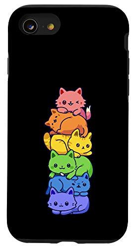 iPhone SE (2020) / 7 / 8 Gay Pride Cat LGBT Kawaii Cats Pile Cute Anime Rainbow Flag Case