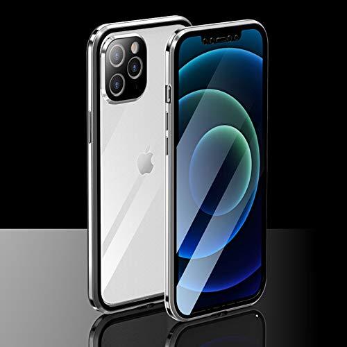 CeeDoo Schutzhülle für iPhone 12 Pro Max, transparent, gehärtetes Glas, magnetisch, 360 Grad, mit Kamera & Bildschirmschutzfolie, (6,7 Zoll - Silber)