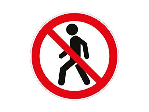 1 x Aufkleber Warnzeichen Fussgänger Verboten Laufen Rennen Achtung Gefahr SOS