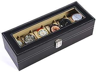 غطاء ساعة للرجال منظم عرض المجوهرات منظم درج عرض مع زجاج شفاف علوي لون أسود