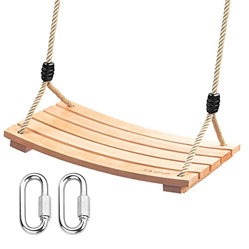 Schaukel Holz Erwachsene mit Karabiner aus Edelstahl und Hanfseil, Schaukelsitz Holz für Draußen Erwachsene Kinder Schaukel Garten (9.8Wx17.7L)
