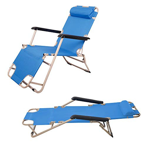 4 Pack Portable Lounge Chairs and Full Flat Cot 2 in 1, Folding Reclining Chairs for Outdoor Lawn Beach Pool Camping, 60' L x 19 W, Blue