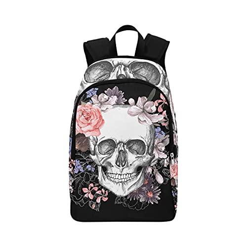 X Bookbag Rose Flower Dead Sugar Skull Head Durable Resistente al Agua Mochila clásica para Mujer Mochila para Hombre Mochila Escolar Bolsa de Mano para Mujer Mochila para Mujer