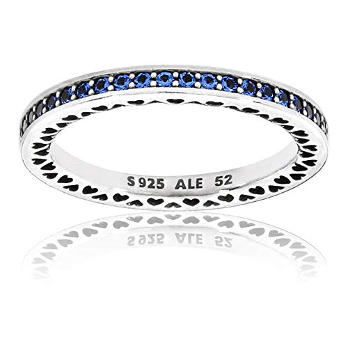 Pandora Women's Blue Radiant Hearts of Ring, Size 52 Jewelry 191011NCB-52