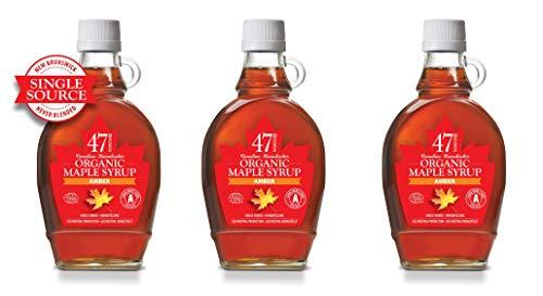 47 North Sciroppo d'acero biologico canadese, Single Source, Grad A Amber (3x250g)