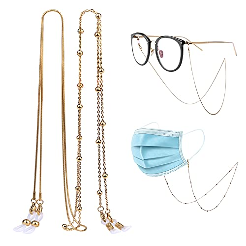 Gafas de Sol Correa Retenedor, 2 Piezas Cadenas para gafas de sol de acero inoxidable Cadenas Cordones para gafas Collar para múltiples aplicaciones