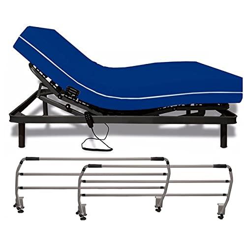 Duérmete Online Pack Cama Articulada Eléctrica Reforzada 5 Planos + Colchón Sanitario Hospitalario Impermeable + Barandillas, Gris Antracita, 90 x 180