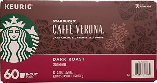 Starbucks Cafe Verona Roast K Cup Pods, Dark Cocoa And Caramelized Sugar, 25.3 Ounce