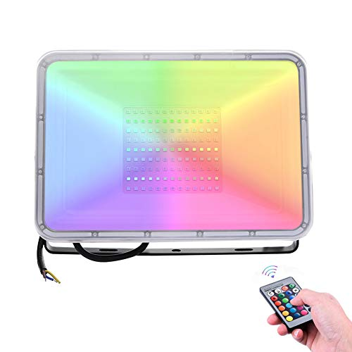 Faretto LED Esterno RGB Con Funzione Di Memoria 100W,8000lLM Impermeabile IP66 Faretto Proiettore LED, 16 Colori 4 Modalità Proiettore RGB Faro da Esterno per giardino Nozze, Festa, Terrazza, Garage