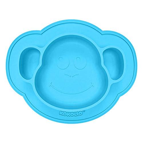 KOKOLIO® – Piatto e piatto per bambini – Antiscivolo, Made in Germany, ventosa per un'esperienza di pranzo senza sporcare – Set di tovagliette in silicone per bambini e neonati (Monki blu)