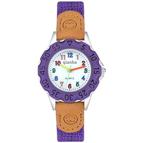 Reloj para Niñas Niños,Reloj Analógico Impermeable de Cuarzo al Agua con Correa de Nylon Colorido Mango con Número Reloj de Aprendizaje de Fácil Lectura para Niños (Púrpura)