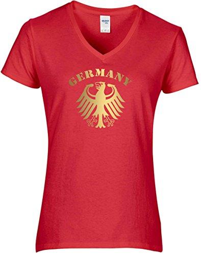Elegantes Damen WM Shirt Deutschland Fussball Bundesadler Germany Schriftzug Deutschland 2018, T-Shirt, Grösse XL, rot