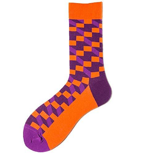 U/A Calcetines cuadrados de color para hombres Calcetines deportivos Calcetines largos de algodón en calcetines (5 pares)