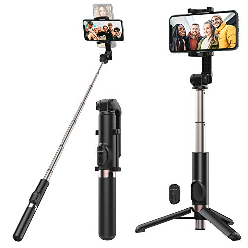 Yoozon 1.2m Max Bluetooth Selfie Stick Tripod, Extendable & Compact Selfie Stick with Detachable Wireless Remote for Selfie, Group Photos, Vlog, Compatible with iPhone, Samsung Galaxy, Google and More
