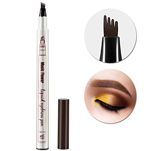 Tattoo Eyebrow Pen Waterproof Ink Gel Tint with Four Tips, Long Lasting Smudge-Proof Natural Hair-Like Defined Brows All Day (Chestnut)
