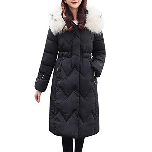 Fenverk Damen Winter Mantel Steppmantel Paula warme Damen Jacke Parka lang Mantel Winterjacke Fell Kragen Softshell Jacke Cotton Windbreaker(B Schwarz,XXL)