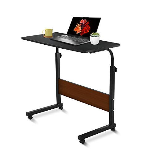 Laptop Desk,Hakkax Newest 31.5' Portable Height Adjustable Laptop Table with Wheels for Movable Workstation/Reading/Parent-Child Interaction (Black)