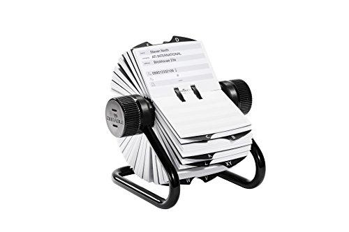 Durable 248201 Rotationskartei Telindex, mit 500 Karten für Telefon- und Adresseinträge, Register A-Z, schwarz