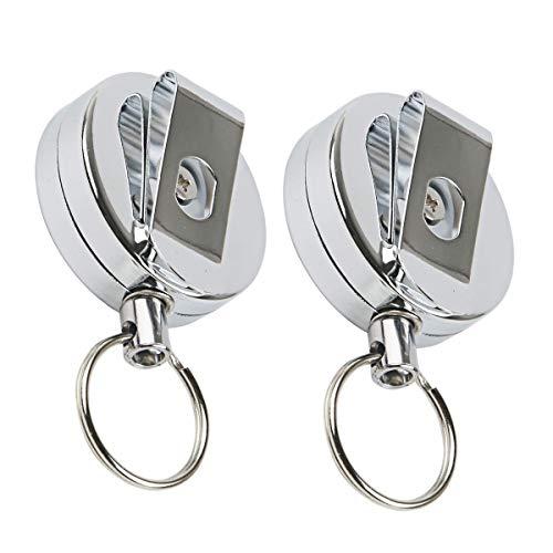 Enrouleur de badge, lot de 2 porte-clés rétractables et extensibles