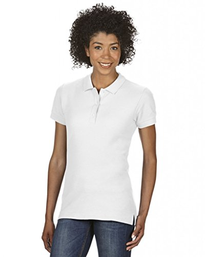 Gildan Damen Ladies\' Premium Cotton Double Piqué Polo/85800L Poloshirt, Weiß (White 30), 40 (Herstellergröße: L)