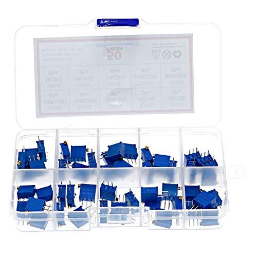 XIALITR Potentiometer 50Pcs/Box 10value x 10pcs 3296X 100 ohm - 500K Multiturn Trimmer Resistance Potentiometer Kit
