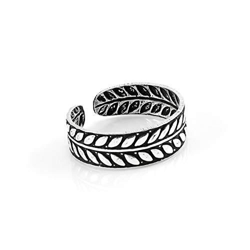 Anello/Anellino per le dita dei piedi in argento Sterling 5mm coroncina d'alloro con fascetta regolabile