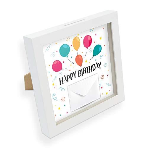 itenga Geldgeschenk I Spardose I Happy Birthday Luftballons I Gutschein I Bilderrahmen zum Befüllen I Geschenkverpackung I inkl. Einleger und Briefumschlag zum Dekorieren