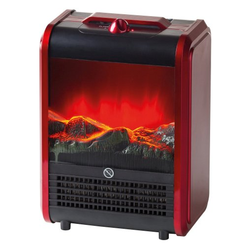 Ardes AR349 Elettrico Portatile Camino  Mini Effetto Fiamma Ceppo Ardente PTC 2 Potenze Regolabili, Rosso