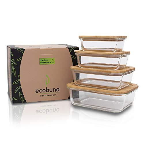 ECOBUNA® Glas Frischhaltedosen mit Bambus-Deckel [4er Set] - Glasbehälter mit Holzdeckel – Vorratsdosen Set – Glasdosen mit Deckel - Aufschnittbox -Käsebox-nachhaltig
