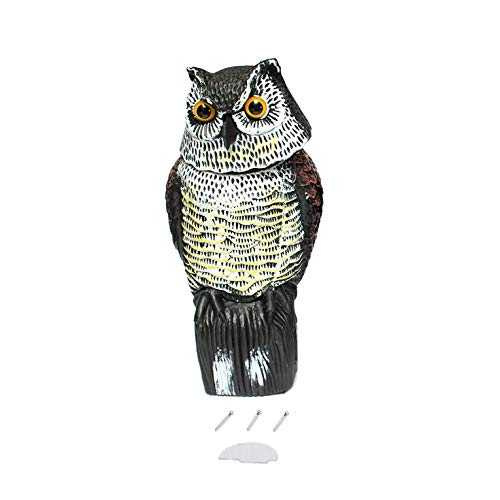 FYstar Rotating Head Garden Protection Repellent Bird Pest Scarer Scarecrow Hunting Decoy and Realistic Owl Decoy for Hunters
