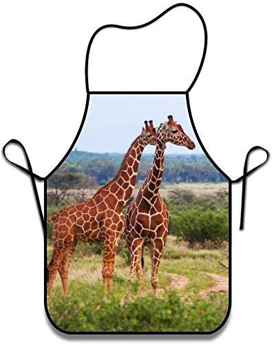 Eastlif Unisex Küchenschürze ohne Taschen, Giraffe Hüftgurte und bequem zum Kochen, Basteln, Grillen, Backen