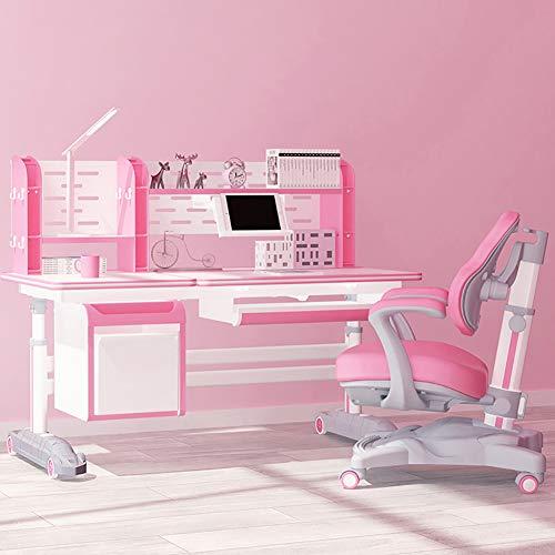 HJ-CGZ Kinder Studie Tisch und Stuhl Set, Multifunktions Abhebbarer Schreibtisch, Deluxe Version, mit Schubladen und Bücherregale,Rosa