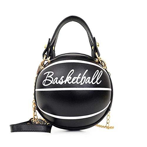 Damen Umhängetasche, rund, Basketball-Form, Umhängetasche, Handtasche, kleine runde Tasche (16 cm, 16 cm, 16 cm), Schwarz