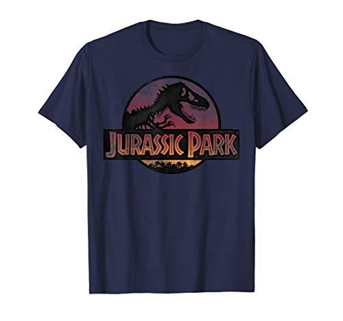 Jurassic Park Neon Distressed Light Red T-Rex Movie Logo T-Shirt