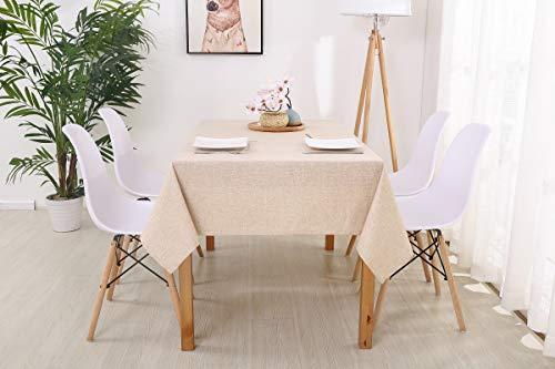 trounistro Tischdecke, Wasserabweisend Tischdecke Tischtuch Leinendecke Leinenoptik Tischwäsche Pflegeleicht abwaschbar Farbe & Größe Wählbar Fur Garten Tischdekoration (Beige, 130 * 200cm)