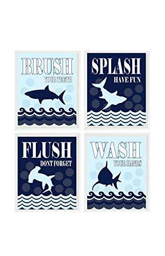 Amazon Com Shark Bathroom Kids Bathroom Wash Flush Brush Splash Shark Bathroom Theme Shark Art Boy Bathroom Child Bathroom Decor Wall Art Handmade
