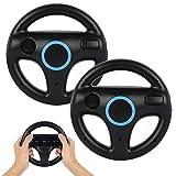 GEEKLIN Volante para controlador Wii, 2 piezas negro Racing Wheel compatible con Mario Kart, rueda de control de juego para Nintendo Wii juego remoto
